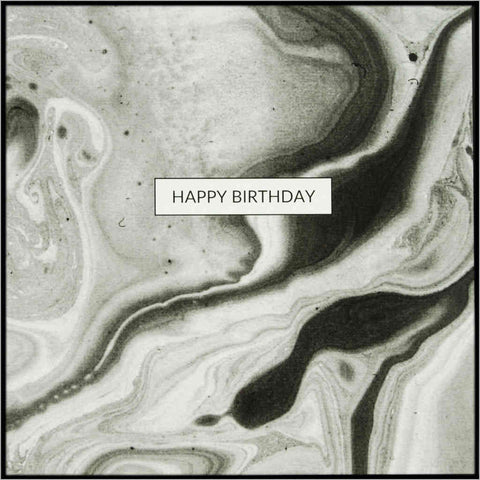 Birthday greeting card with black marble-effect design