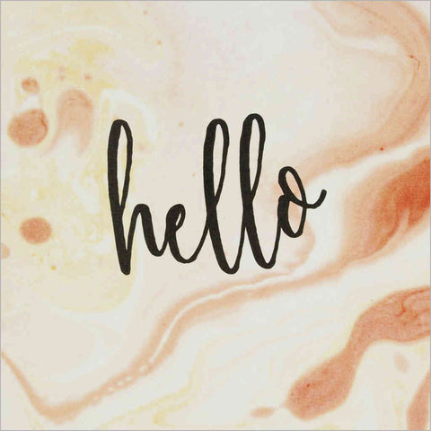greeting card featuring Hello on a marble-effect swirling paint design