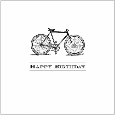 Happy Birthday greeting card with vintage bicycle illustration