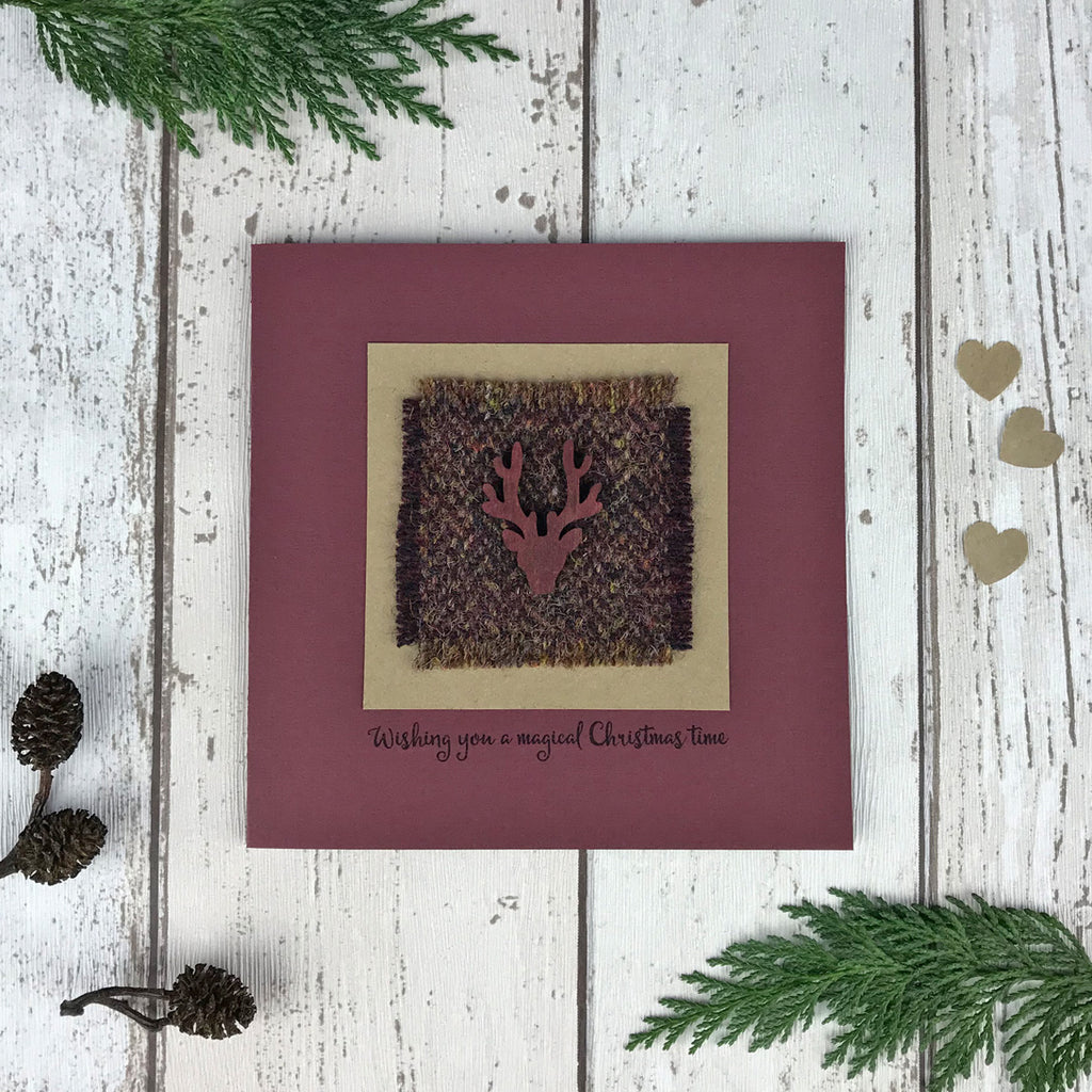 Luxury Harris Tweed Christmas Card, Dark Red