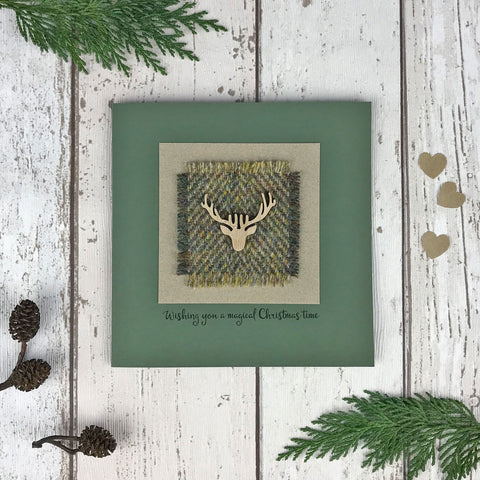 Luxury Harris Tweed Christmas Card, Green