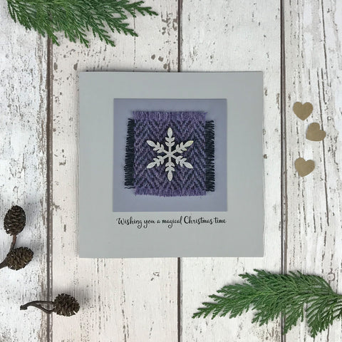 Luxury Harris Tweed Christmas Card, Lilac