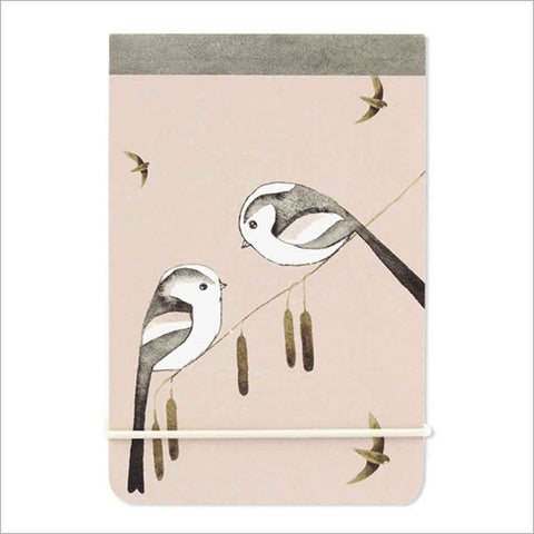 A7 notebook with watercolour long-tailed tits illustration by artist Matt Sewell