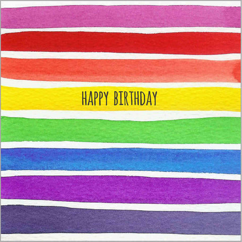 Birthday greeting card with a bright spectrum of watercolour stripes