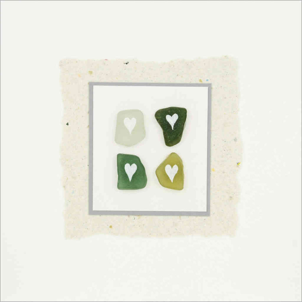 Hand-made greeting card with sea glass from Scottish beaches hand-painted with white hearts