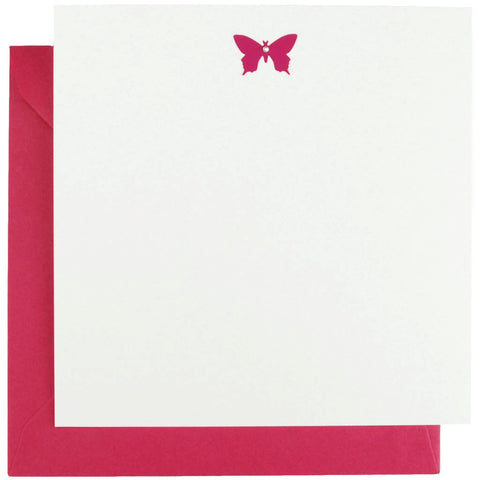 Set of 10 notecards with a pink diamante-encrusted butterfly