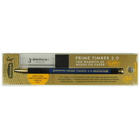 Timber & brass mechanical pencil 2mm lead from Penco
