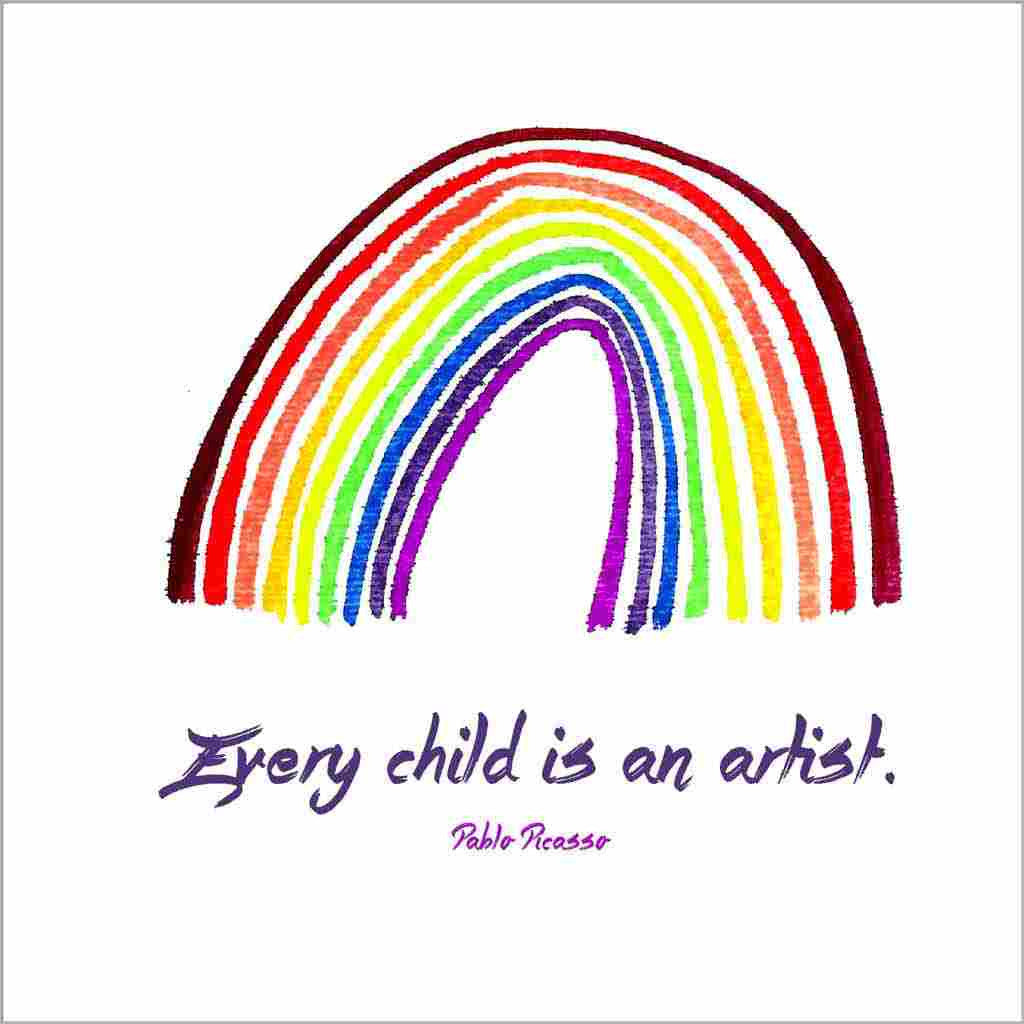 Sandra Muir Design greeting card of original hand-painted rainbow with Pablo Picasso Every Child quote