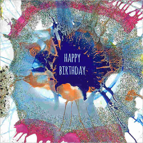 Birthday greeting card with hand-painted spiral splash art design