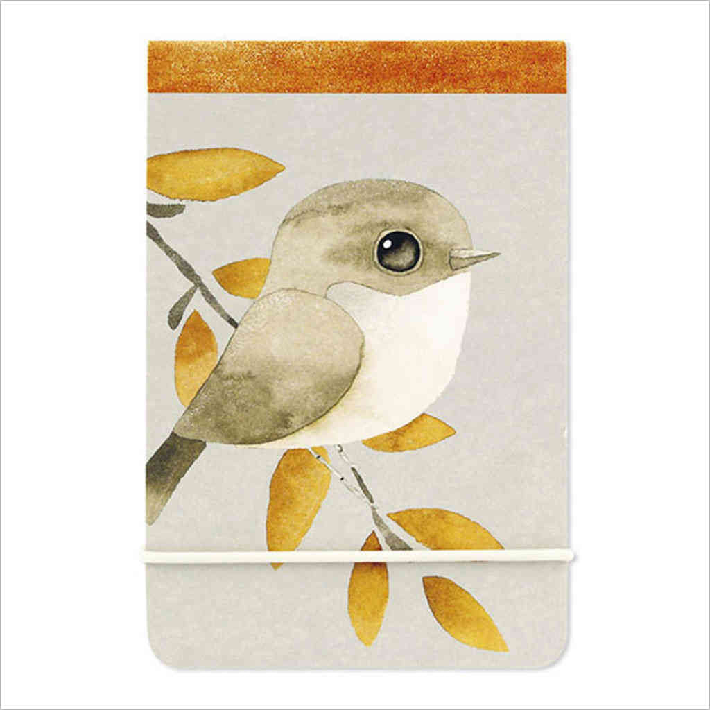 A7 notebook with watercolour warbler illustration by artist Matt Sewell