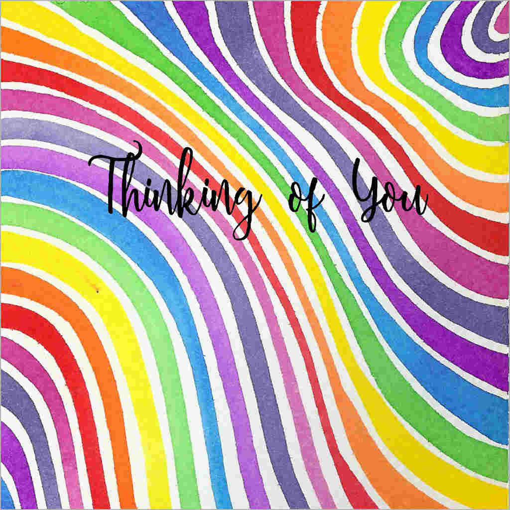 General greeting card with a bright wavy watercolour stripes