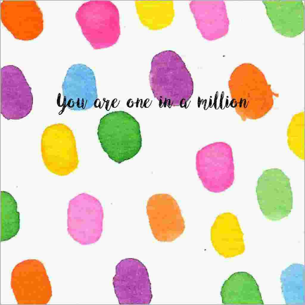 One in a Million Greeting Card with Watercolour Dots