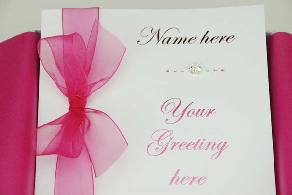 Personalised luxury greeting card metallic pink script with hot pink organza ribbon and diamantes