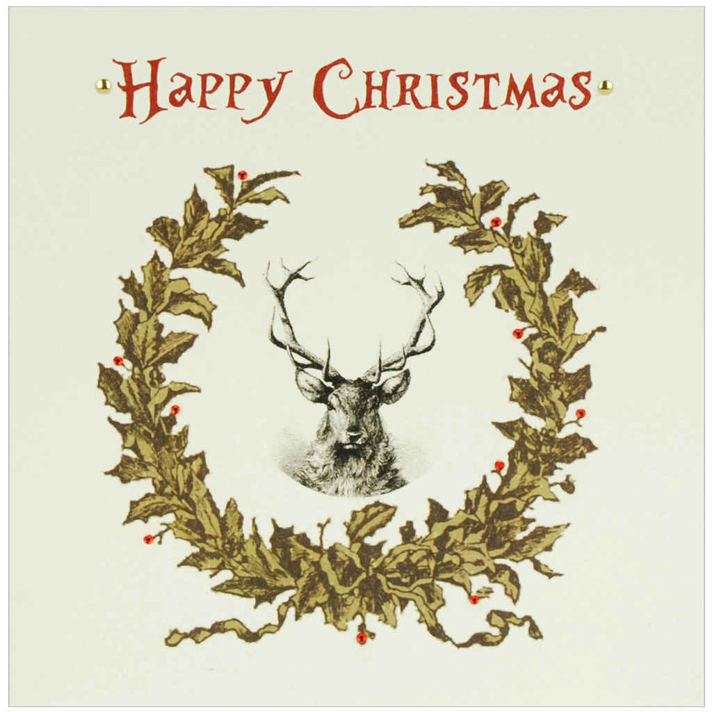 Vintage Christmas card featuring a stag surrounded by a Christmas wreath with metal studs and red diamanté detailing