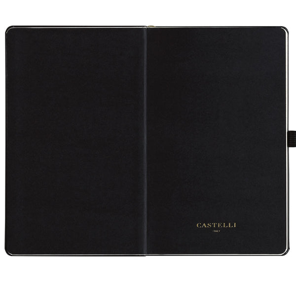 Black endpapers with envelope pocket Castelli notebook made in Italy
