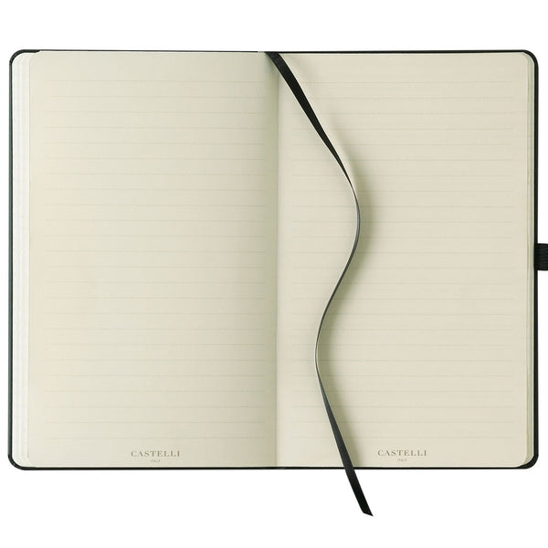 Grey ruled pages on ivory paper Castelli notebook made in Italy