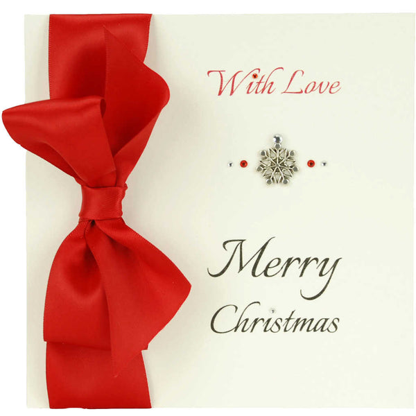 Merry Christmas handmade greeting card with red sating ribbon and diamantes