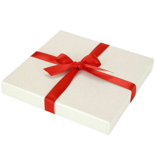 Luxury Christmas card gift box in pearlescent white
