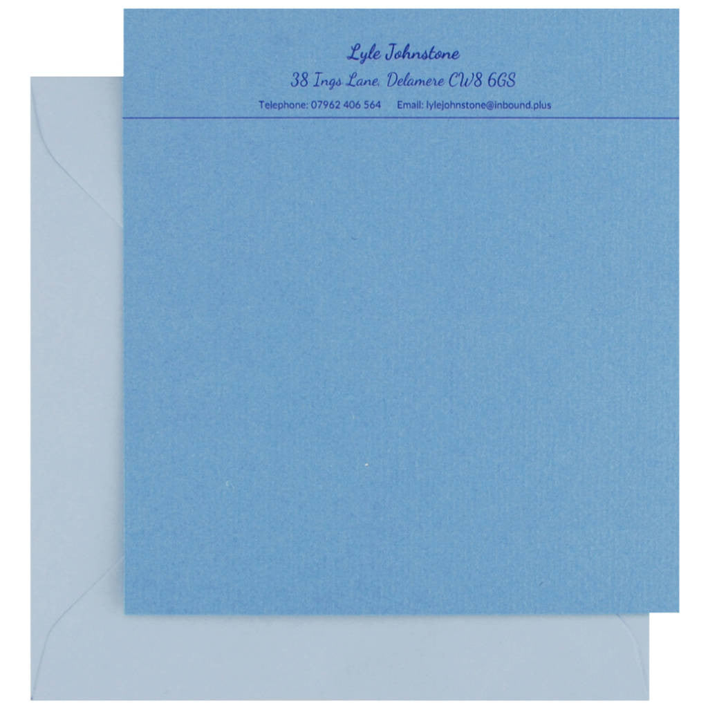 Personalised correspondence cards in french blue by Sandra Muir Design