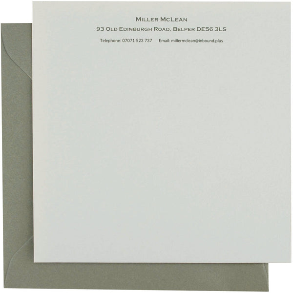 Personalised correspondence cards in stately grey by Sandra Muir Design
