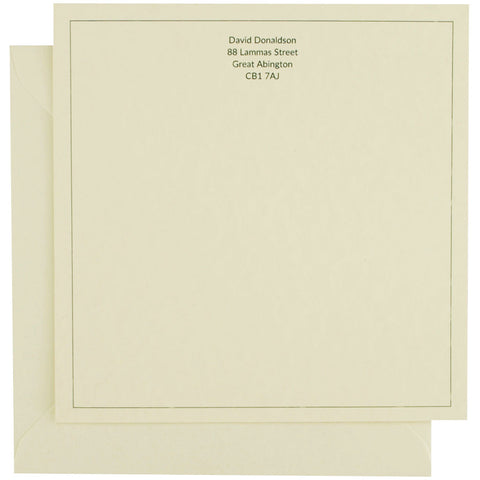 Personalised correspondence cards in cream with racing green text by Sandra Muir Design
