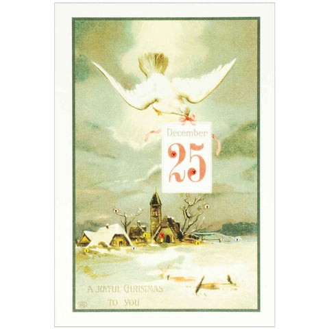 Vintage Christmas card featuring a Christmas dove with stud and diamanté embellishments.