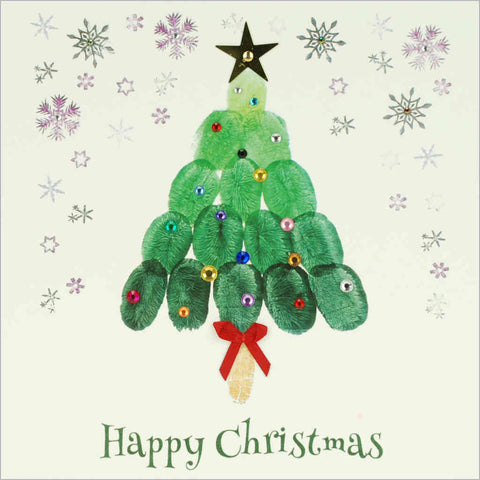 Card featuring print of Christmas tree painting from fingerprints