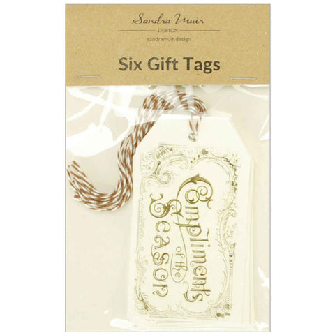 Set of 6 Compliments of the Season Gift Tags
