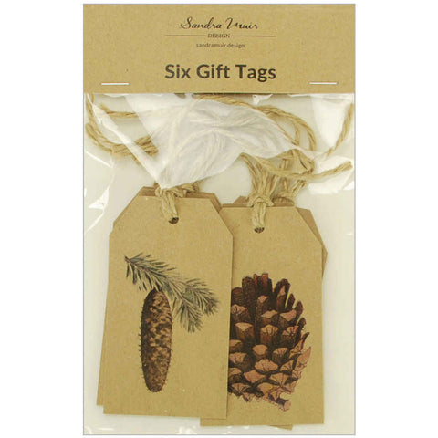 Pack of six kraft Christmas gift tags
