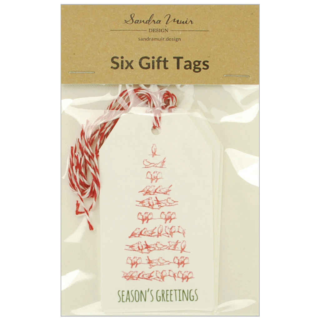 Pack of six Christmas gift tags