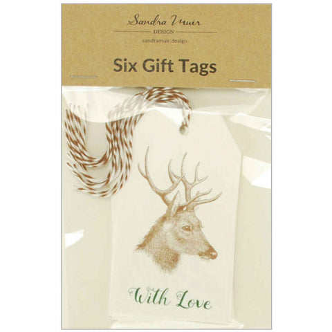 Set of 6 Stag With Love Gift Tags