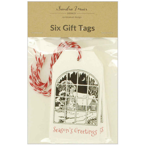 Pack of six gift tags featuring a Christmas window scene threaded with red and white baker's twine.