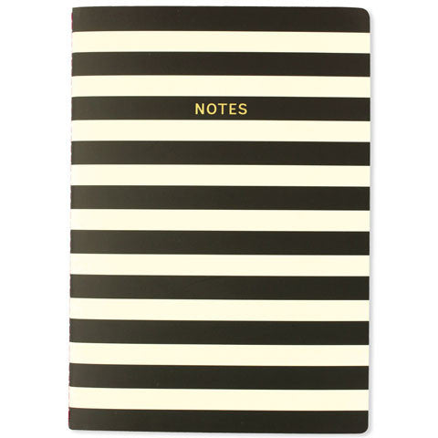 Black & White Mono Stripe A4 Notebook