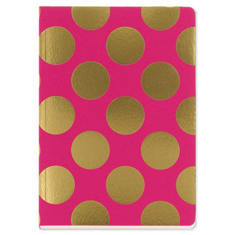 Gold Polka on Magenta, A5 Notebook