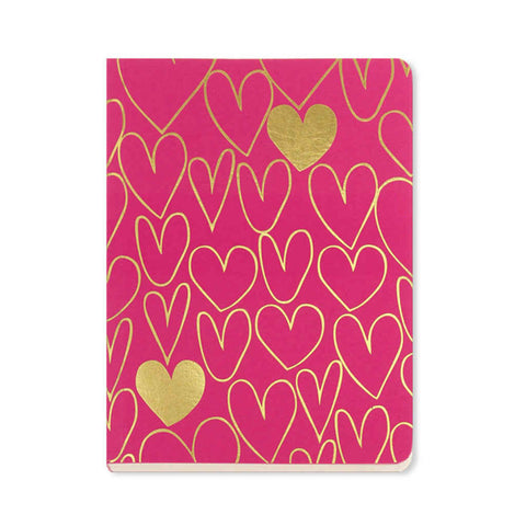 Notebook A6 size with hand-drawn gold hearts on a magenta cover