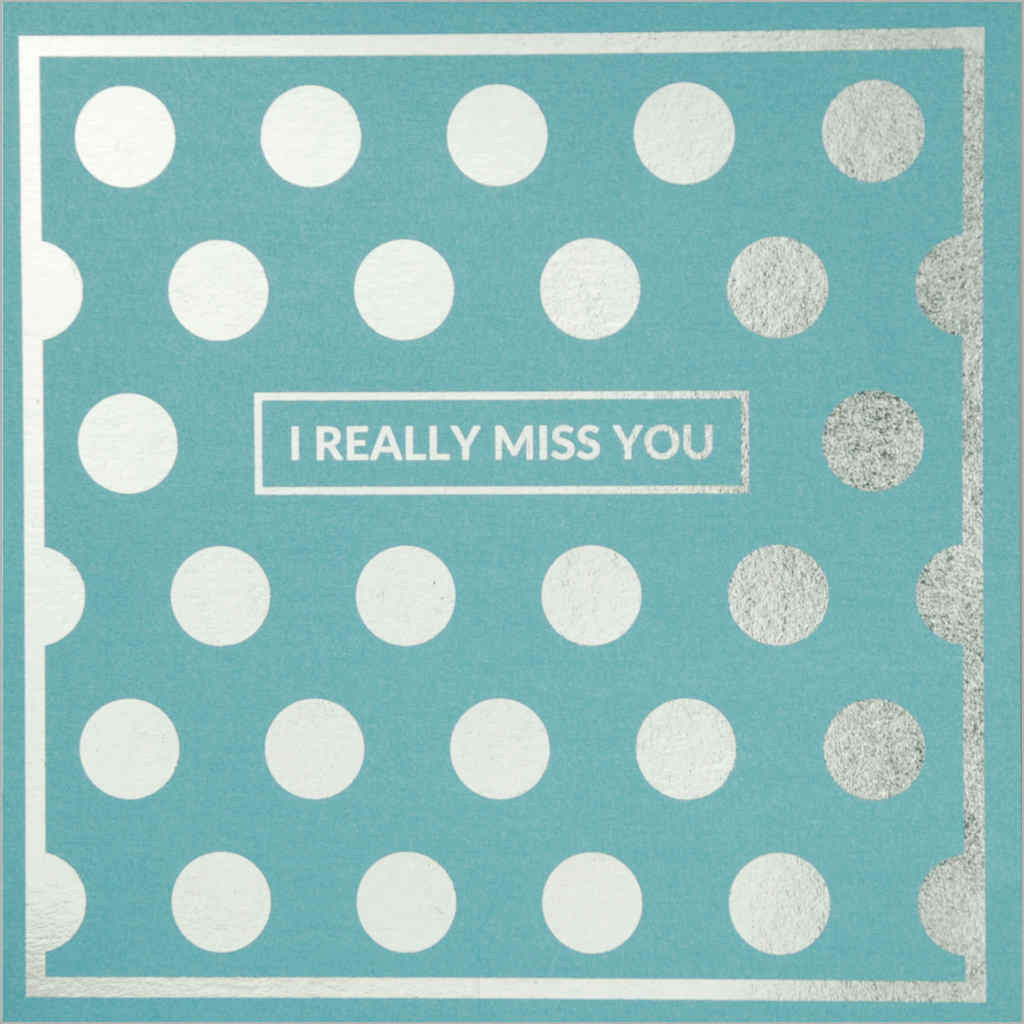 General greeting card featuring metallic silver polka dots on pearlescent sky blue card
