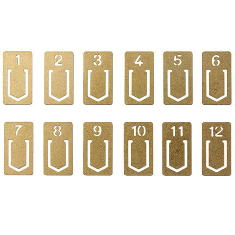 Brass Numbered Index Clips by Midori, Japanese Stationery