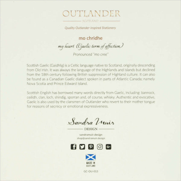 Outlander Jamie Claire box set stationery Gaelic phrase greeting card Mo Chridhe, made in Scotland