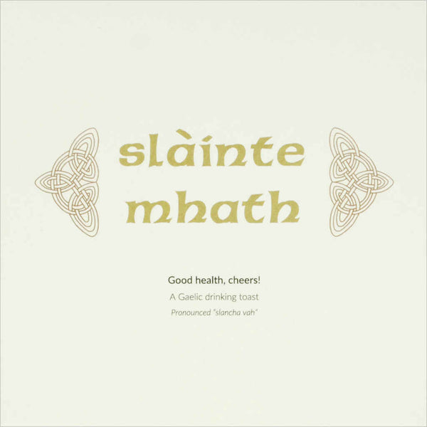Outlander Jamie Claire box set stationery Gaelic phrase greeting card Slainte Mhath, made in Scotland