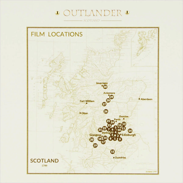 Outlander box set film location greeting card map of Scotland