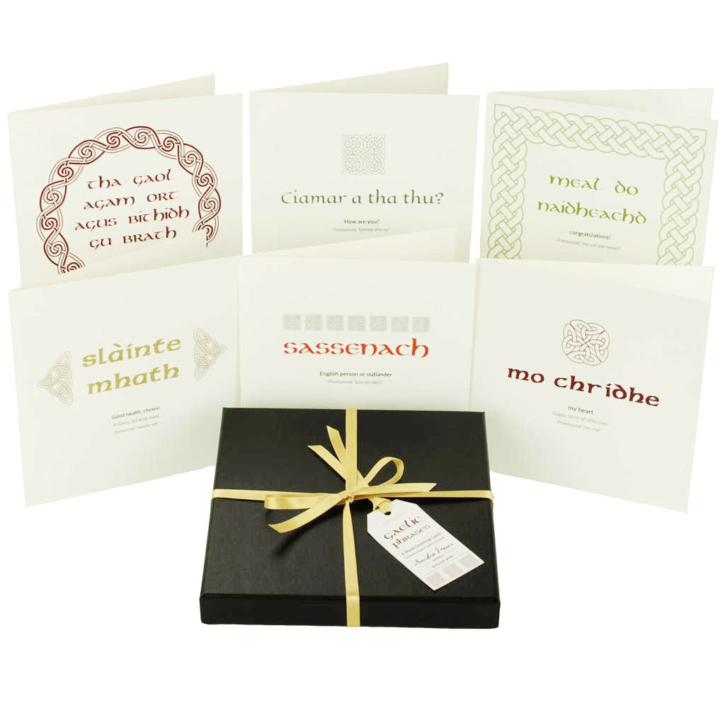 Outlander Jamie Claire box set greeting cards of Gaelic phrases, made in Scotland