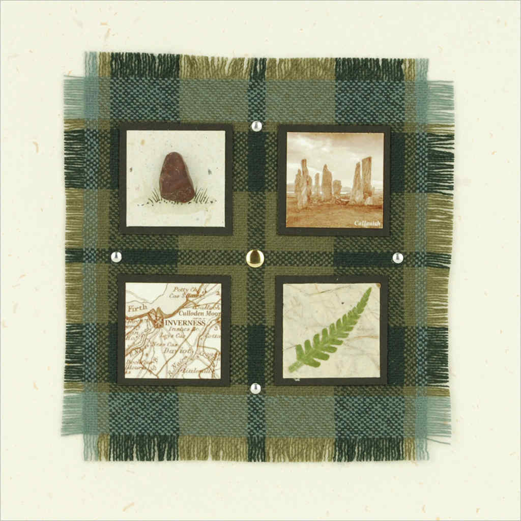 Outlander-inspired hand-made greeting card featuring clan tartan, Callanish Standing Stones, Scottish fearn, Highland map detail. Made in Scotland.