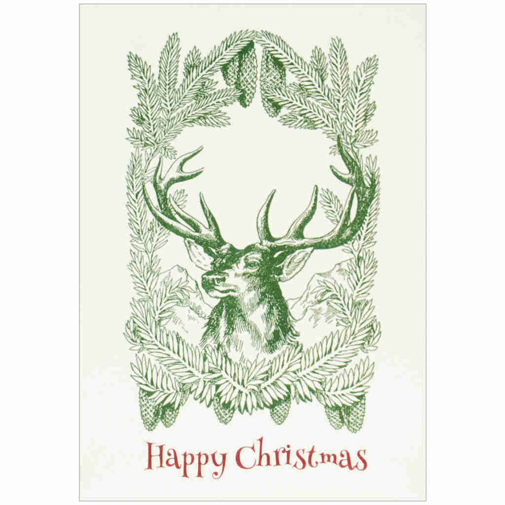 Pack of six Christmas cards featuring green stag among the pines illustration.