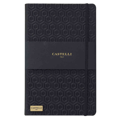 Honeycomb notebook in black with gold page edges made in Italy by Castelli