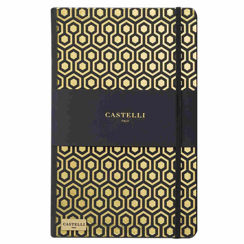 Honeycomb notebook in gold with black page edges made in Italy by Castelli