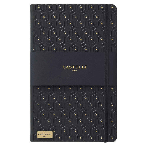 Honeycomb notebook in black and gold with gold page edges made in Italy by Castelli