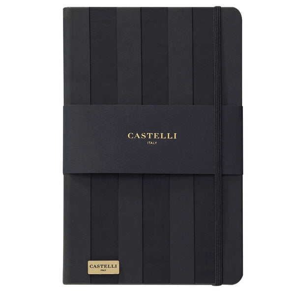 Stripes notebook in black with gold page edges made in Italy by Castelli