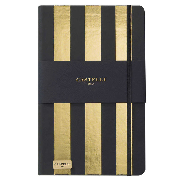 Stripes notebook in gold with black page edges made in Italy by Castelli