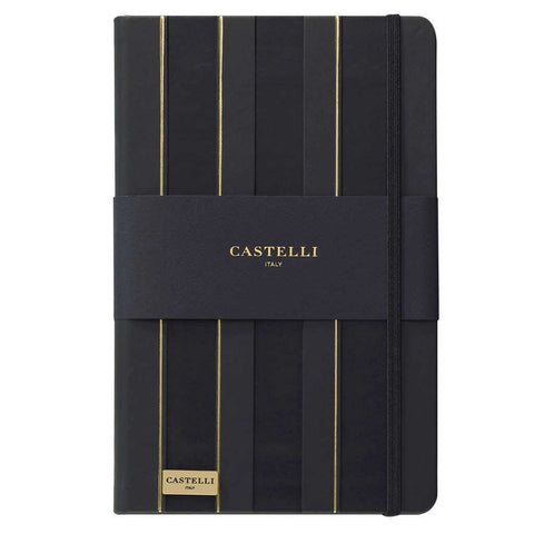Stripes notebook in black and gold with gold page edges made in Italy by Castelli