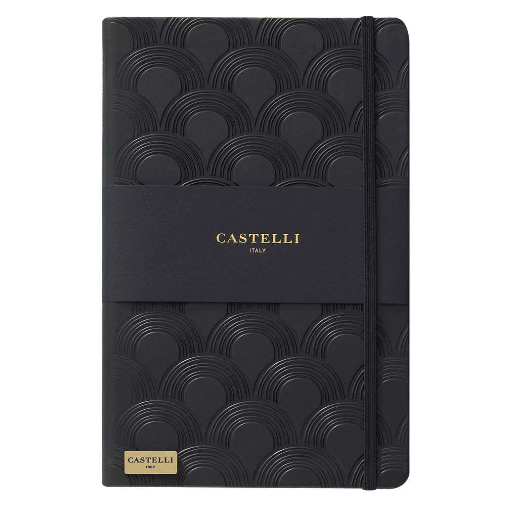 Art Deco notebook in black with gold page edges made in Italy by Castelli